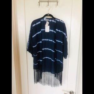Neiman Marcus Tie Dye Fringe Kimono